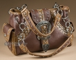 Designer Western Buckle Purse -Tan & Brown  (430)