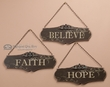 3 Rustic Wall Plaque Set -Faith, Hope, Believe