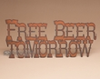 Rustic Metal Wall Sign -Free Beer  (p202)