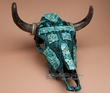 Painted Turquoise & Stone Overlaid Steer Skull 16x18  (ps78)