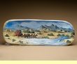 "Western Hand Painted Wooden Bowl 25"" - Overland Stage"