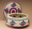 "Navajo Pattern Coiled Sewing Basket  13""x6""  (a2)"
