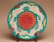 "Indian Style Hand Coiled Basket & Stand 12""  -Turquoise (EM16)"