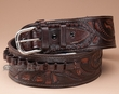 "44-45 Cal. Hand Tooled Western Leather Gun Belt 38""  (gb17)"