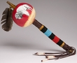 "Tigua Indian Beaded Handle Gourd Rattle 16"" -Buffalo (117)"