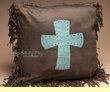 Tooled Faux Leather Western Pillow 18x18 -Cross  (wp17)