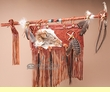 "American Indian Jaw Bone Medicine Stick & Shield 36"" (m77)"