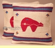 Pair Southwest Pillow Covers 18x18 -Native Bear
