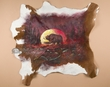Hand Painted Western Cowhide -Moonlit Bear  (ph5)