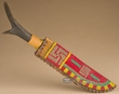 Vintage Beaded Rawhide Sheath & Antler Knife  (k33)