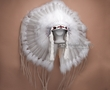 Navajo Indian Ceremonial Headdress -White  (h9)