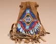 "Deer Skin Beaded Medicine Bag 3.5"" -Saddle  (15)"