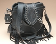Western Leather Designer Messenger Bag -Black