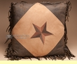 Designer Faux Western Leather Pillow 18x18 -Star  (wp19)