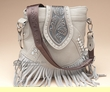 Western Leather Messenger Handbag -Grey  (wp424)