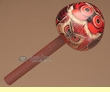 """Hand Carved Andean Indian Gourd Rattle 6.5"""" -Red Owl  (r3)"""