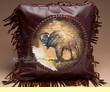 "Southwest Leather Cowhide Pillow Cover 13"" -Buffalo  (LPC20)"
