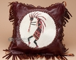 "Southwest Leather Cowhide Pillow Cover 13"" -Kokopelli  (LPC16)"