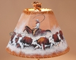 "Painted Leather Lamp Shade - 12"" -Cattle Drive  (PL61)"