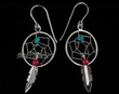 Southwestern Sterling Silver Feather Earrings -Navajo  (78)