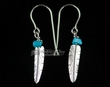 American Indian Zuni Earrings -Silver Feather  (19)