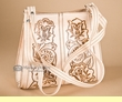 Western Tooled Cow Hide Hand Bag -Cream  (p6)