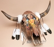 Antiqued Hand Painted Steer Skull 24x21 -Indian  (s65)