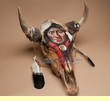Large Painted Steer Skull 19x18 -Brave  (s63)