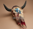 Painted Steer Skull -Cowboy 20x21  CLEARANCE