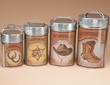 4 Pc. Rustic Western Cowboy Tin Kitchen Canister Set