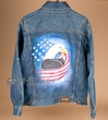 Lg. Southwestern Hand Painted Jean Jacket -Eagle