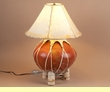"Southwest Pottery Lamp & Rawhide Shade 22"" -Orange"