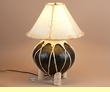 "Southwestern Coiled Pottery Table Lamp 22""  -Black"
