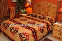 Western Ranch Blanket Bedspread -Yavapai Pattern Queen