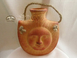 """Southwestern Clay Hanging Vase 6"""" -Sun Face CLEARANCE"""