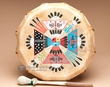 "Navajo Indian Painted Drum 13"" -Sand Painting  (pd79)"