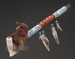"Native American Beaded Antler Pipe 20"" -Wolf  (p79)"