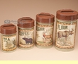 4 pc. Rustic Cabin Style Kitchen Canister Set