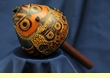 """Hand Carved Andean Indian Gourd Rattle 7"""" -Owl  (2)"""