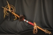 "American Indian Leather Antler Staff 42"" -Tigua"