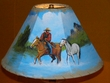 "14"" Painted Leather Lamp Shade - Cowboy & Horse"
