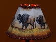 "Painted Leather Lamp Shade - 12"" -Grazing Buffalo  (PL56)"