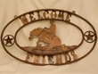 Western Iron Art Welcome Plaque -Cowboy