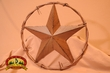 "Western Metal Barn Star -Barbed Wire Ring 12"" (s1)"