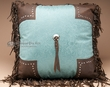 Western Pillow Faux Leather 18x18 -Tooled Turquoise  (wp11)