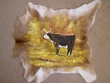 "Painted Calf Skin for Western Decor 34""x34"" - Bull  (7)"