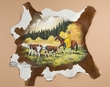 "Painted Calf Skin for Western Decor - Stray Steers 34""x32"""