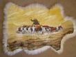 "Painted Lamb Skin for Western Decor 33""x24"" - Cattle Drive  (1)"