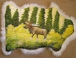 Painted Lamb Skin for Rustic Decor - Moose  (PH4)