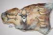 "Painted Southwest Sheep Skin 24""x37"" -Spirit Deer  (19)"